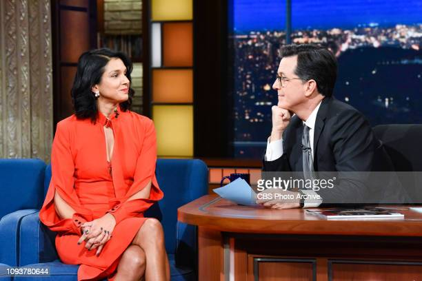 The Late Show with Stephen Colbert and guest Radhika Jones during Thursday's January 31 2019 show