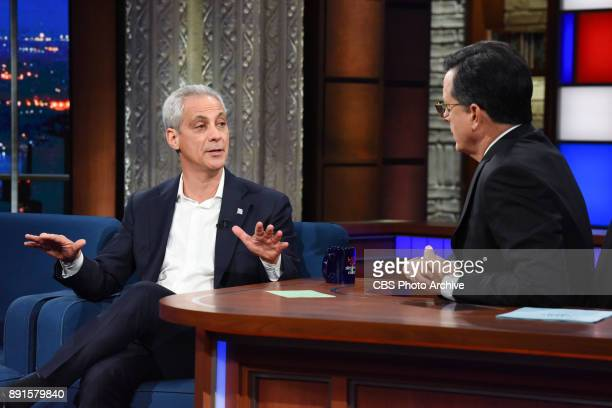 The Late Show with Stephen Colbert and guest Rahm Emanuel during Monday's December 11 2017 show