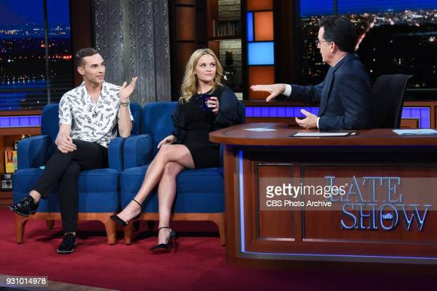 The Late Show with Stephen Colbert and guest Reese Witherspoon and Adam Rippon during Wednesday's March 7 2018 show