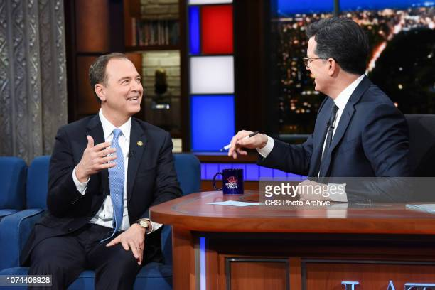 The Late Show with Stephen Colbert and guest Rep Adam Schiff during Tuesday's December 18 2018 show