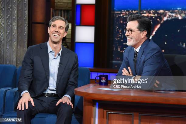 The Late Show with Stephen Colbert and guest Rep Beto O'Rourke during Wednesday's September 12 2018 show