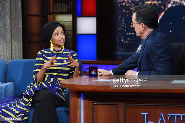 The Late Show with Stephen Colbert and guest Rep Ilhan Omar during Wednesday's April 10 2019 show