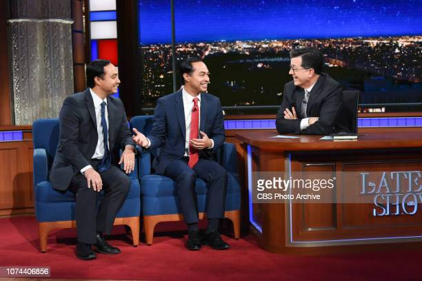 The Late Show with Stephen Colbert and guest Rep Joaquin Castro Julian Castro during Thursday's December 13 2018 show