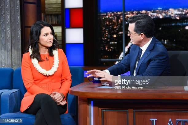 The Late Show with Stephen Colbert and guest Rep Tulsi Gabbard during Monday's March 11 2019 show