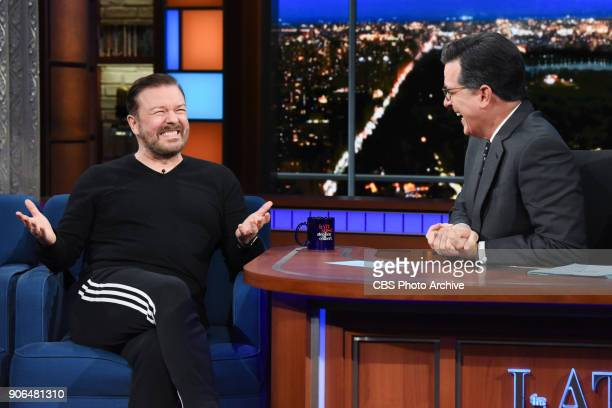 The Late Show with Stephen Colbert and guest Ricky Gervais during Wednesday's January 17 2018 show