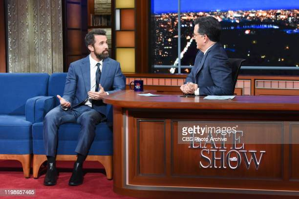 The Late Show with Stephen Colbert and guest Rob McElhenney during Monday's February 3, 2020 show.