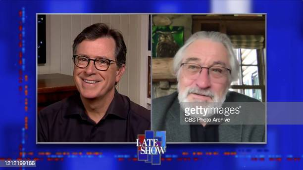 The Late Show with Stephen Colbert and guest Robert De Niro during Wednesday's May 6 2020 show Photo is a screen grab