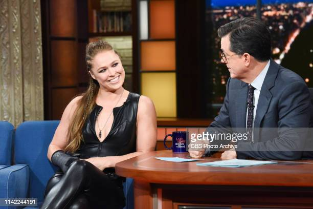 The Late Show with Stephen Colbert and guest Ronda Rousey during Friday's May 3, 2019 show.