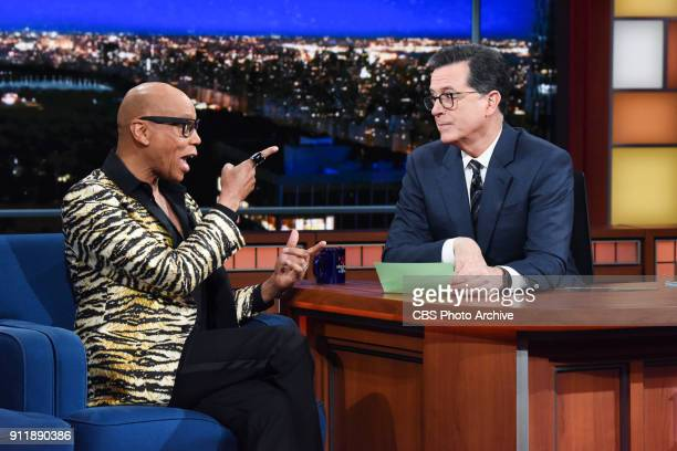The Late Show with Stephen Colbert and guest RuPaul during Wednesday's January 24 2018 show