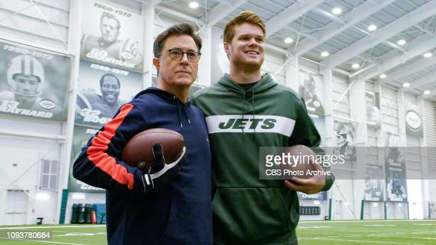 The Late Show with Stephen Colbert and guest Sam Darnold during Sunday's February 3, 2019 show. Photo is a screen grab.