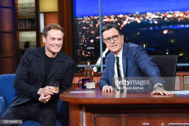 The Late Show with Stephen Colbert and guest Sam Heughan during Thursday's February 13, 2020 show.