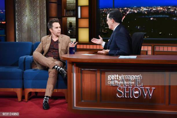 The Late Show with Stephen Colbert and guest Sam Rockwell during Wednesday's February 21 2018 show