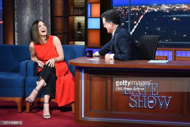 The Late Show with Stephen Colbert and guest Sandra Bullock during Monday's December 17, 2018 show.