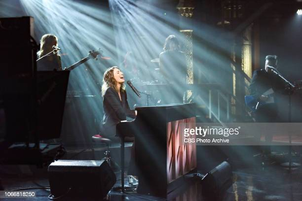 The Late Show with Stephen Colbert and guest Sara Bareilles during Wednesday's November 28 2018 show