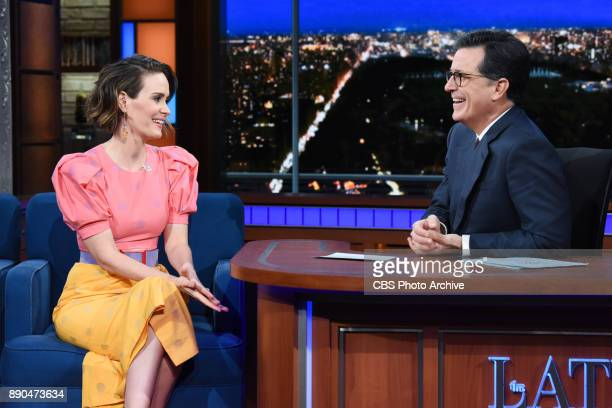 The Late Show with Stephen Colbert and guest Sarah Paulson during Thursday's December 7 2017 show