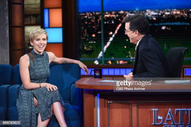 The Late Show with Stephen Colbert and guest Scarlett Johansson during Friday's June 16 2017 show in New York