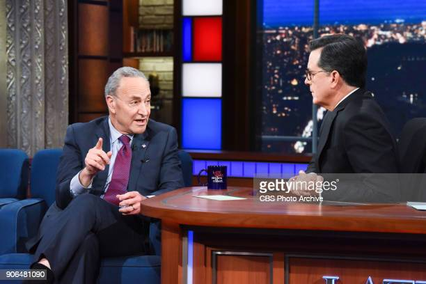 The Late Show with Stephen Colbert and guest Sen Chuck Schumer during Monday's January 15 2018 show