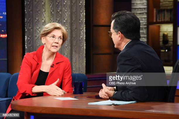 The Late Show with Stephen Colbert and guest Sen Elizabeth Warren during Tuesday's November 20 2017 show