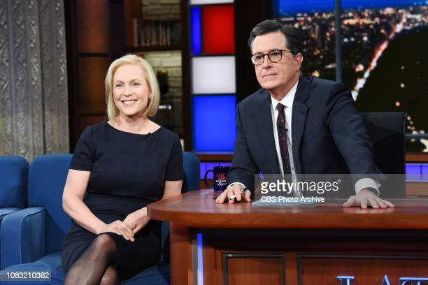 The Late Show with Stephen Colbert and guest Sen. Kirsten Gillibrand during Wednesday's January 15, 2019 show.