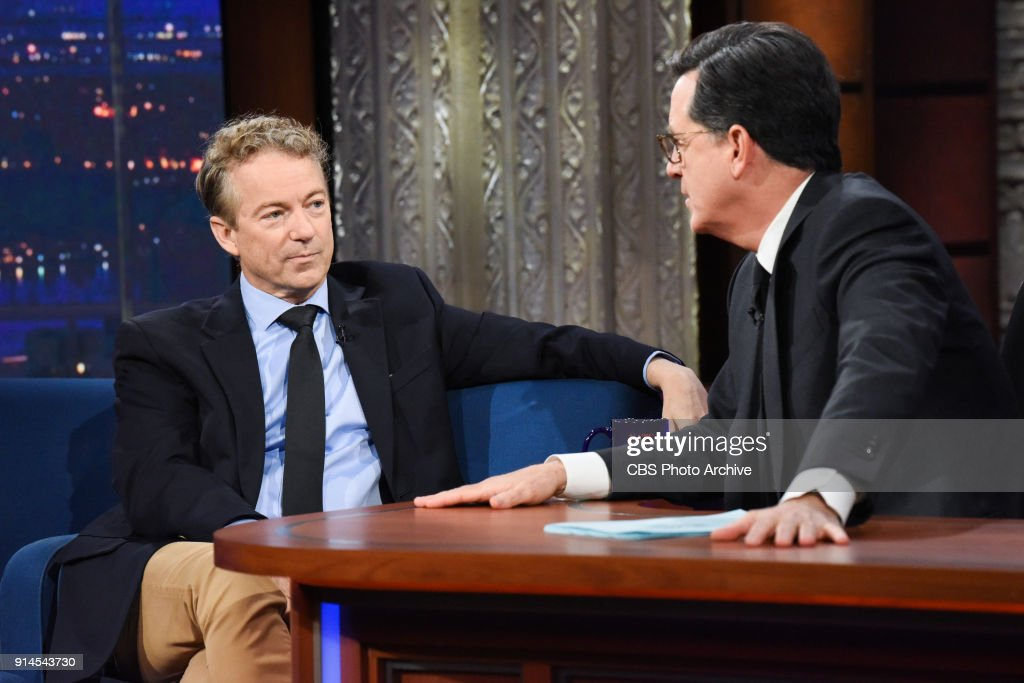 The Late Show with Stephen Colbert and guest Sen. Rand Paul during Wednesday's January 31, 2018 show.