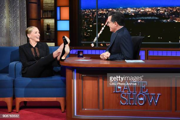The Late Show with Stephen Colbert and guest Sharon Stone during Thursday's January 18 2018 show