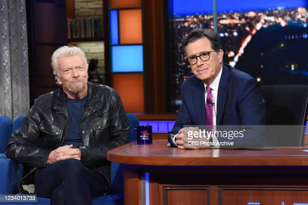 The Late Show with Stephen Colbert and guest Sir Richard Branson during Tuesdays July 13, 2021 show.