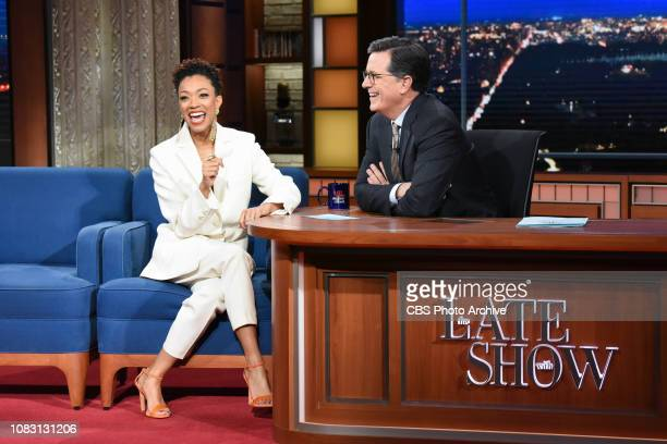The Late Show with Stephen Colbert and guest Sonequa Martin-Green during Monday's January 14, 2019 show.