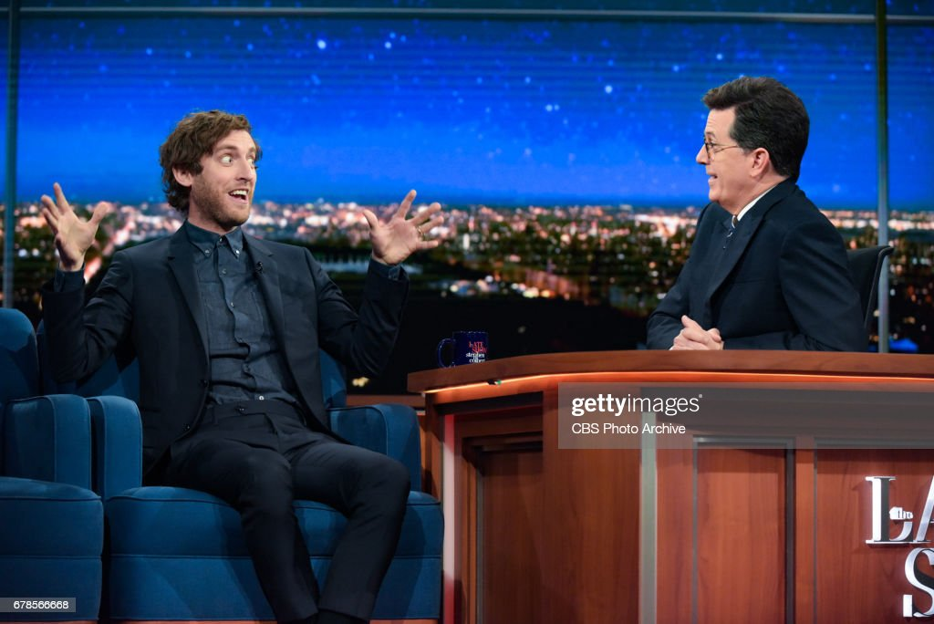 The Late Show with Stephen Colbert and guest Thomas Middleditch during Wednesday's 4/26/20 show.