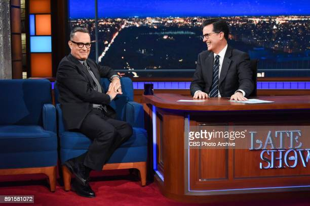 The Late Show with Stephen Colbert and guest Tom Hanks during Tuesday's December 12 2017 show