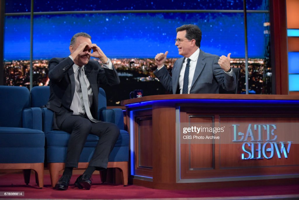 The Late Show with Stephen Colbert and guest Tom Hanks during Friday's 4/28/20 show.