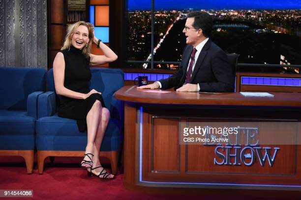 The Late Show with Stephen Colbert and guest Uma Thurman during Friday's February 1 2018 show