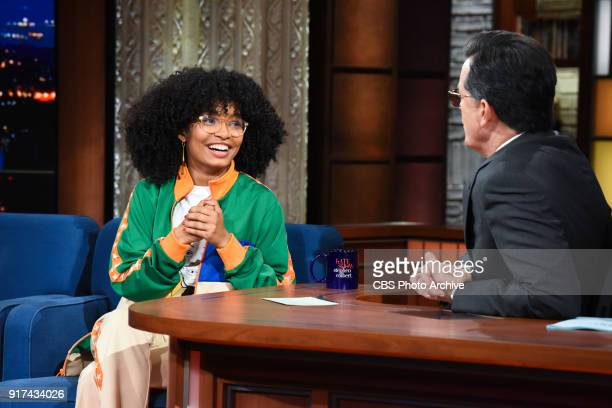 The Late Show with Stephen Colbert and guest Yara Shahidi during Thursday's February 8 2018 show
