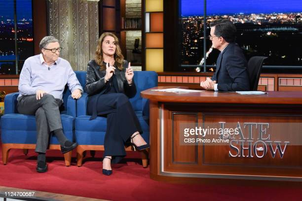 The Late Show with Stephen Colbert and guests Bill Gates Melinda Gates during Tuesday's February 12 2019 show