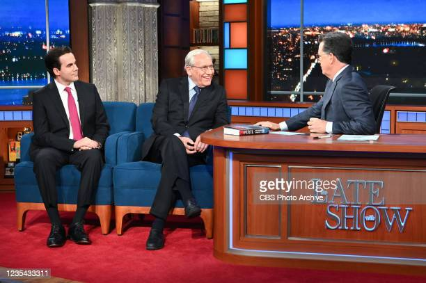 The Late Show with Stephen Colbert and guests Bob Woodward and Robert Costa during Mondays September 21, 2021 show.