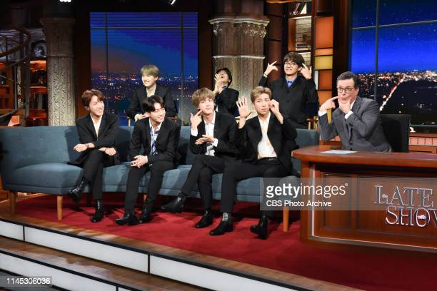 The Late Show with Stephen Colbert and guests BTS during Wednesday's May 15, 2019 show.