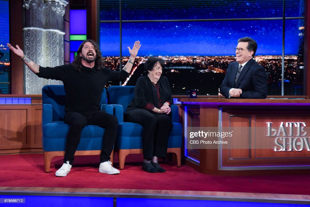 The Late Show with Stephen Colbert and guests Dave & Virginia Grohl during Wednesday's 4/26/20 show.