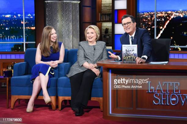 The Late Show with Stephen Colbert and guests Hillary Rodham Clinton and Chelsea Clinton during Monday's September 30, 2019 show.