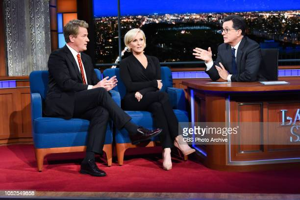 The Late Show with Stephen Colbert and guests Joe Scarborough and Mika Brzezinski during Thursday's October 18 2018 show