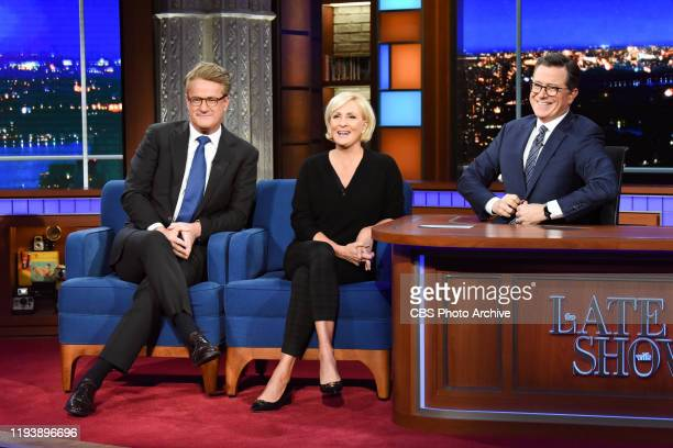 The Late Show with Stephen Colbert and guests Joe Scarborough Mika Brzezinski during Monday's January 13 2020 show