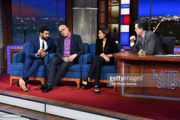 The Late Show with Stephen Colbert and guests John Heilemann Alex Wagner and Hasan Minhaj during Tuesday's November 6 2018 live show