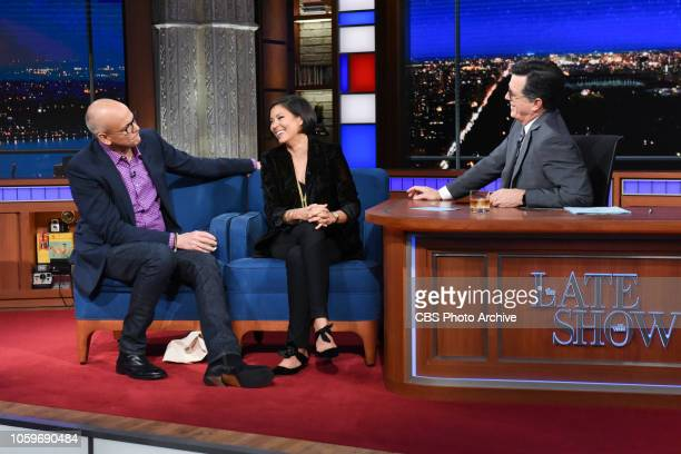 The Late Show with Stephen Colbert and guests John Heilemann and Alex Wagner during Tuesday's November 6 2018 live show