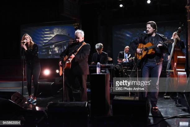 The Late Show with Stephen Colbert and guests John Prine featuring Sturgill Simpson Brandi Carlile during Thursday's April 12 2018 show