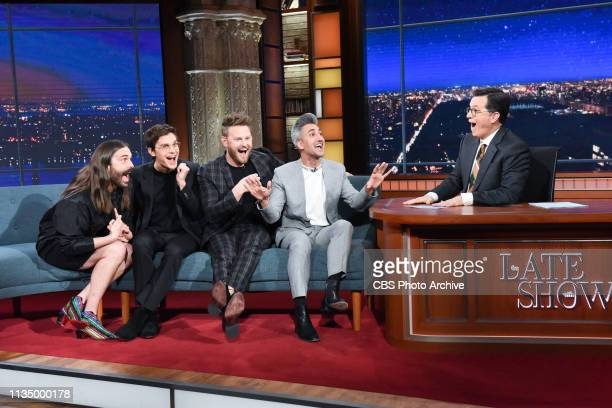 The Late Show with Stephen Colbert and guests Johnathan Van Ness, Antoni Porowski, Bobby Berk and Tan France during Monday's April 1, 2019 show.