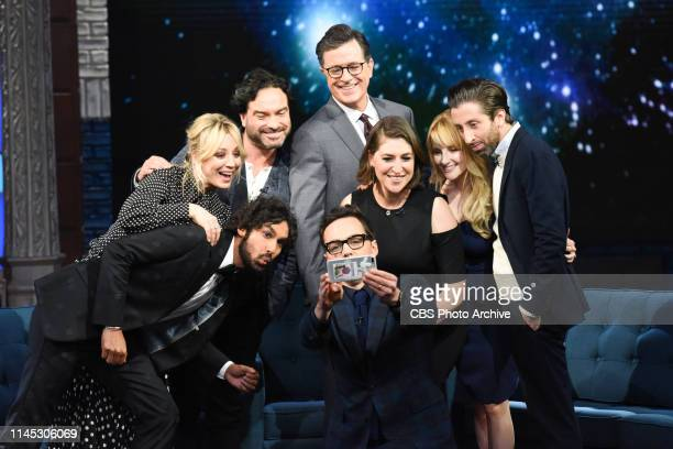 The Late Show with Stephen Colbert and guests Johnny Galecki Jim Parsons Kaley Cuoco Simon Helberg Kunal Nayyar Mayim Bialik Melissa Rauch during...