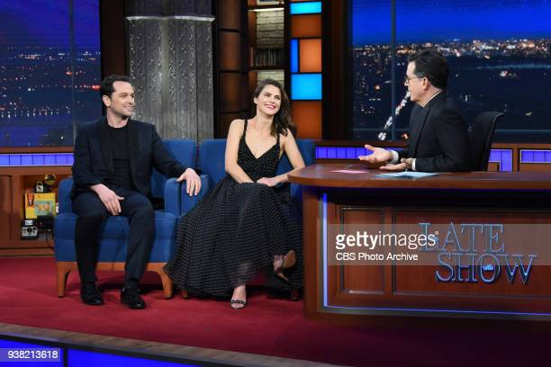 The Late Show with Stephen Colbert and guests Keri Russell Matthew Rhys during Wednesday's March 21 2018 show
