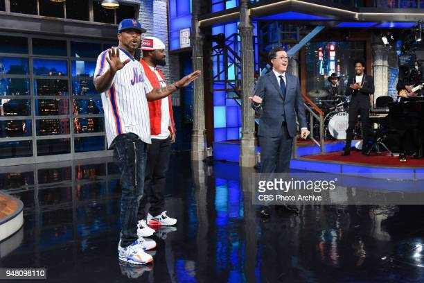 The Late Show with Stephen Colbert and guests Method Man and Ghostface Killah during Tuesday's April 17 2018 show