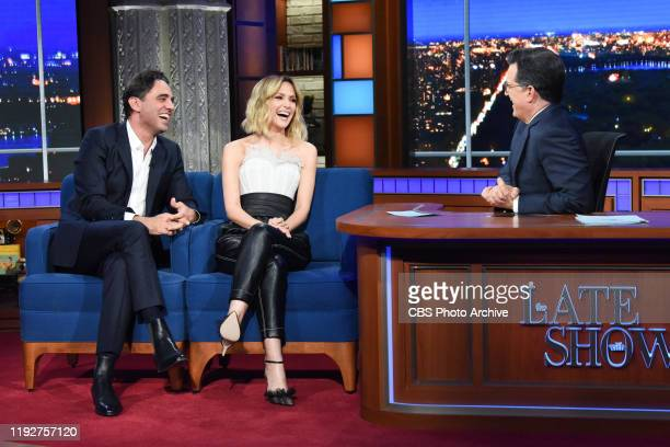 The Late Show with Stephen Colbert and guests Rose Byrne and Bobby Cannavale during Tuesday's January 7 2020 show