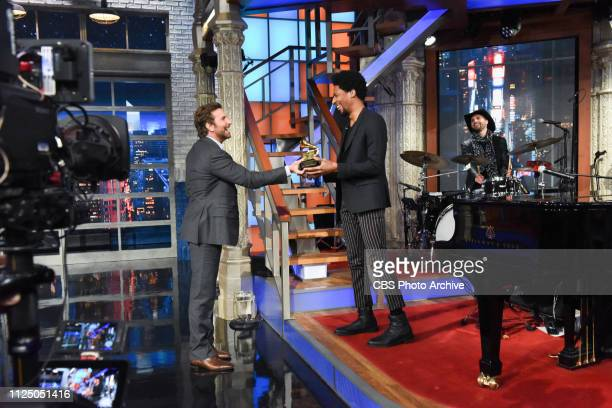 The Late Show with Stephen Colbert and Jon Batiste and guest Bradley Cooper during Thursday's February 14 2019 show