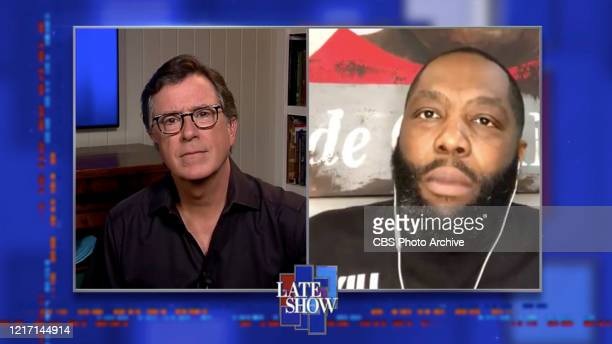 The Late Show with Stephen Colbert and Killer Mike during Monday's June 1 2020 show Image is a screen grab