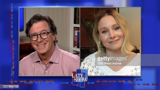 The Late Show with Stephen Colbert and Kristen Bell during Thursday's July 23, 2020 show. Image is a screen grab.